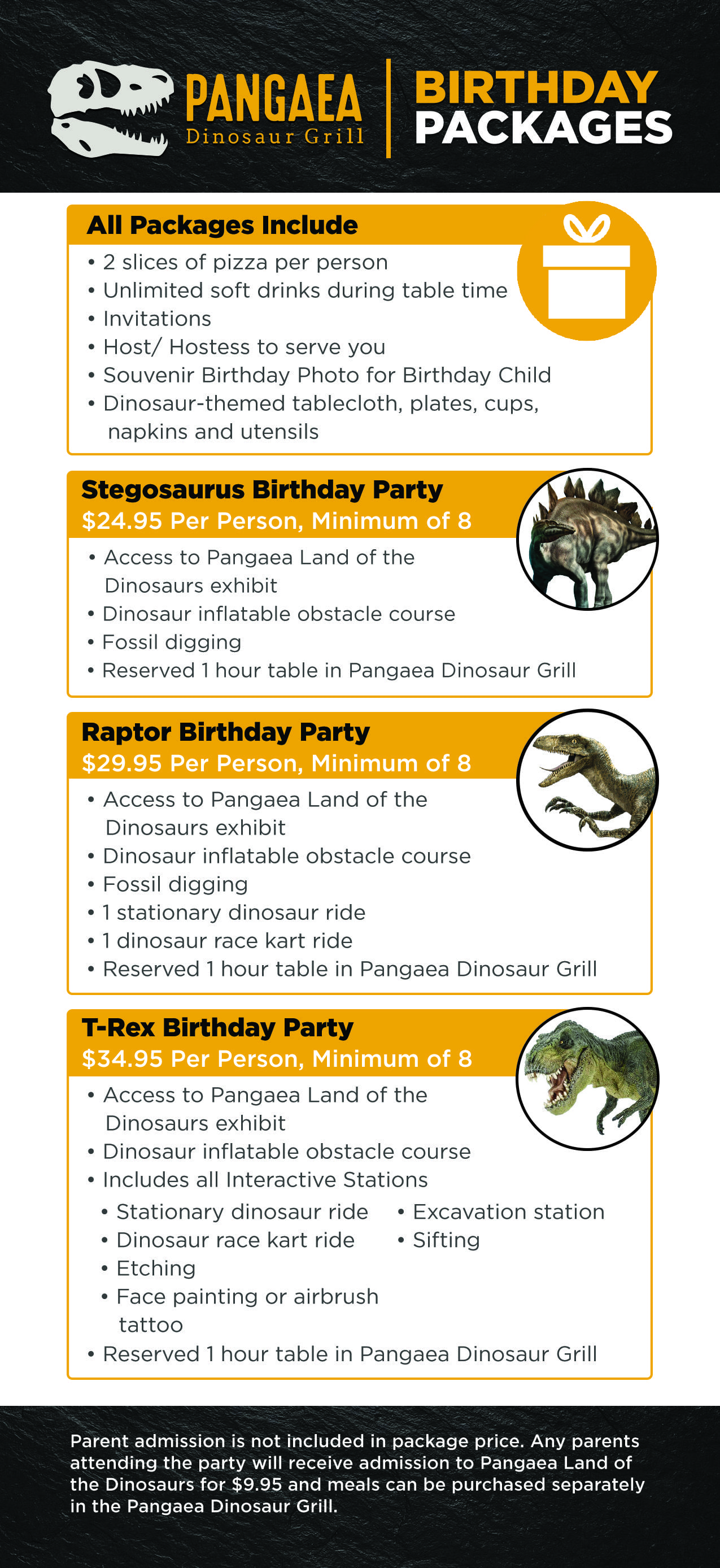 Pangaea Birthday Packages